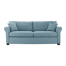 Sofamania   Classic And Traditional Ultra Comfortable Linen Fabric Sofa, Sky  Blue   Sofas