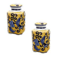 "Blue Yellow Ceramic Lidded Jar 3""x3""x6"", Set of 2"