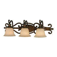 Golden 3-Light Bath Vanity, Burnt Sienna