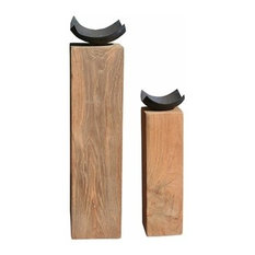 Block Recycled Teak Wood Candleholder, 2-Piece Set