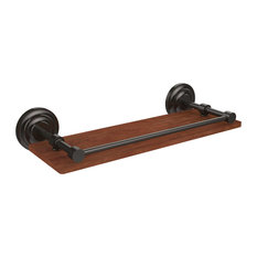 """Que New Collection 16"""" Solid IPE Ironwood Shelf With Gallery Rail"""