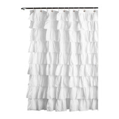 Lush Decor   Ruffle Shower Curtain  White   Shower CurtainsShower Curtains   Houzz. Extra Brown And Red Shower Curtain. Home Design Ideas