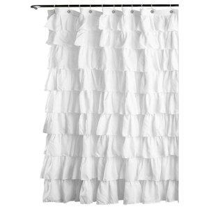 Ruffle Shower Curtain White