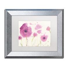"Sheila Golden 'Purple Poppies' Framed Art, Silver Frame, 11""x14"", White Matte"