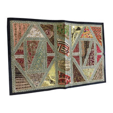 Mogul Interior - Hand Crafted Home Decor Embroidered Sequin Patchwork Table Runner Wall Tapestry - Tapestries