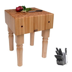 John Boos Butcher Block and 13-Piece Henckels Knife Set