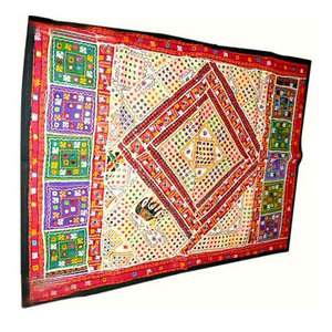 Mogul Interior - Sari Tapestry Mirror Embroidered Wall Hanging - Tapestries