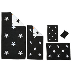 Stars Towel Collection, Black and White, Set of 5