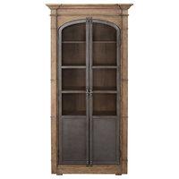 Metal Door Light Oak Display Cabinet