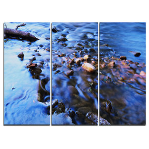 Rock Blue River Panorama Oversized Beach Canvas Artwork Contemporary Prints And Posters By Design Art Usa Houzz