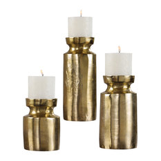 Rustic Antique Style Brass Pillar Candle Holder Set 3 | Classic Traditional Gold