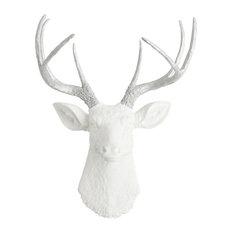 White Faux Deer Head Wall Mount, Silver Antlers