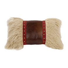 Mongolian Fur Pillow with Faux Leather and Stud