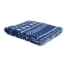 Eco Reversible Mud Cloth Throw, Chambray Blue