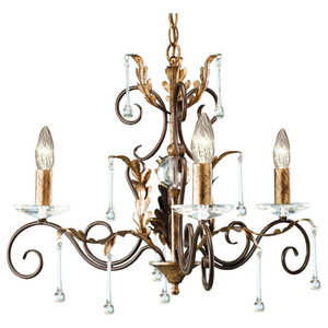 Amarilli 3-Light Chandelier, Bronze and Gold