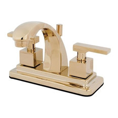 """Executive Two Handle 4"""" Centerset Lavatory Faucet, Brass Pop-up, Polished Brass"""