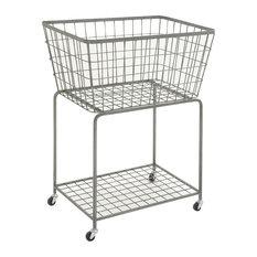 Grey Industrial Metal Storage Cart, 36x28