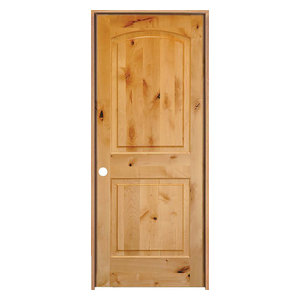 "Knotty Alder 2-Panel Top Rail Arch Solid Core Interior Door, 28""x80"", Right-Hand"