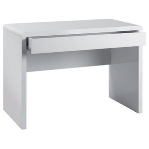 Modern Desk, White High Gloss Finished MDF With 1-Storage Drawers