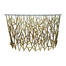 14   Italian Gold Iron Demi Lune Twig Console Table With Glass Top   Console