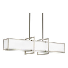 Progress Lighting 4-Light Linear Pendant Etched Glass Panels, Brushed Nickel