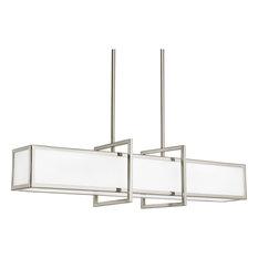Progress Lighting 4-Light Linear Pendant Etched Glass Panels, Brushed Nickel