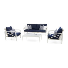 Knoxville Cream 4-Piece Outdoor Seating Set by RST Brands, Navy Blue