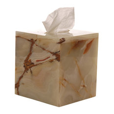 Genuine Leather Bathroom Tissue Box Cover for Vanity Countertop, Golden Brown