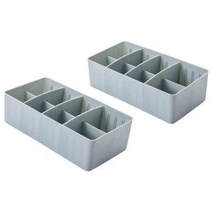 Adjustable 8-Compartment Drawer Storage Boxes, Set of 2, Light Blue