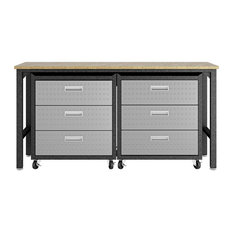 3-Piece Fortress Mobile Space-Saving Garage Cabinet and Worktable 6.0, Grey