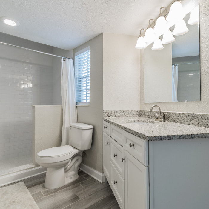 Master bathroom remodel, subway tile, angular layout with built in vanity