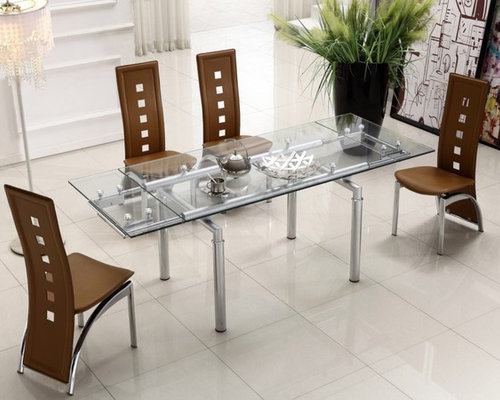 clear glass top leather modern dining table sets dining tables