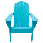 LuXeo - Marina Outdoor Patio Adirondack Chair, Aruba Blue - Relax in style with this charming Adirondack chair. Offering a classic touch to outdoor decor, the chair if fashioned with a sleek profile that includes a curved back and slender legs. Its waterfall front ensures comfort for lasting enjoyment on a sunny afternoon at the lake or in the backyard. Wide arms are perfect for resting a cool glass of lemonade, or pair the chair with a side table for even more space.