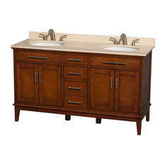 "Hatton 60"" Light Chestnut Double Vanity With Ivory Marble Top and Oval Sink"