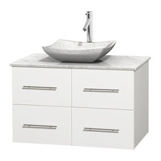 """Centra 36"""" White Single Vanity, White Carrera Marble Top, Carrera Marble Sink"""
