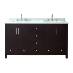 Rockford Vanity Dark Espresso Finish With Carrera White Marble Top 61-inch Wide