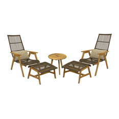Outdoor Interiors - 5-Piece Teak And Wicker Basket Lounger Set - Outdoor Lounge Sets