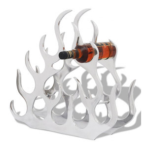VidaXL Aluminium Tabletop Wine Rack Stand Holder for 11 Bottles, Silver