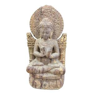 Mogul Interior - Garden Buddha Statue Dharmachakra Buddha Sculpture - Garden Statues And Yard Art
