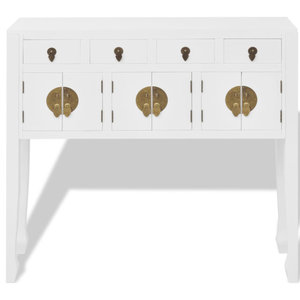 vidaXL Sideboard Chinese Style Solid Wood, White
