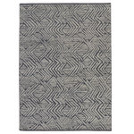 Esmaili Rugs - New Contemporary Moroccan Souf Rug - 09'09 x 13'06 - 30583, new contemporary Moroccan Souf rug with Raised design and Modern style. This hand knotted wool new contemporary Moroccan style souf rug features a geometric pattern composed of stacked horizontal bands enclosed with expanding V-shapes on either side creating an asymmetrical diamond lozenge design on the charcoal backdrop. With a strong sense of dimensionality and asymmetry, the raised design of gray lines are engaging, yet well-balanced creating a striking visual effect. The pile is soft without being shaggy or fussy. With its modern approach, expressive design, and neutral hues, this contemporary Moroccan souf rug would enhance any space with its clean sophistication and graphic appeal. Perfect for a living room, entry room, front room, lounge, dining room, bedroom, den, family room, children's area, nursery, playroom, home office, library, study, loft, studio, wine cellar, executive suite, listening room, vestibule, gallery, or lobby. Well-suited for a wide range of interior styles: Transitional, Eclectic, Modern, Contemporary, Cubist, Art Deco, Bauhaus, Art Moderne, Abstract Expressionist, International, Mid-Century Modern, Scandinavian Modern, Organic Modern, Brutalist, Minimalist, Postmodern, Swedish, Danish, New Nordic, Scandi, Hygge, Mys, Mysigt, Zen, Nomadic, Ethnic, Primitive, Tribal, Industrial, Urban, and Loft. Abrash. Hand knotted wool. Made in India. Measures: 09'09 x 13'06. Brand new. In-stock.