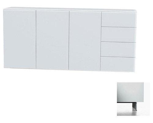 Arctic 40 Sideboard 3D & 4L, Vit/Vita Metallben - Opbevaringsskabe