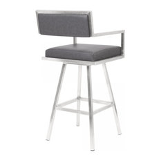 Armen Living Dylan 30-inch Faux Leather Swivel Bar Stool In Gray
