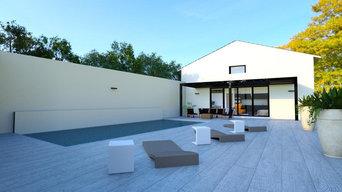 restructuration d'un mas sur 3 niveaux, d'un atelier et implantation piscine