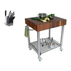 Boos Blocks - John Boos CUCD 30x24 Cart, 13 pc. Henckels Knife Set - Kitchen Islands and Kitchen Carts