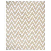 Stockholm Jute and White Cotton Chevron Dhurrie Rug, 8'x10'
