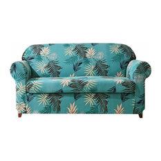 Subrtex 2-Piece Leaves Printed Stretch Sofa Slipcovers