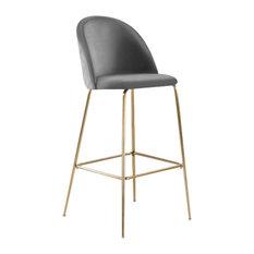 Millennial Brass Velvet Upholstered Dining Bar Stool, Soft Grey, 75 cm