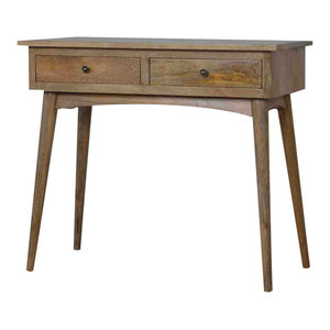 2 Drawer Country Style Mango Wood Hallway Console Table