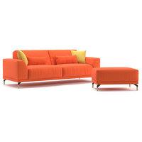 Meta Modern Sofa with 4 Pillow Set and Pouf Ottoman, Orange
